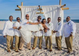 Sideways bride beach wedding
