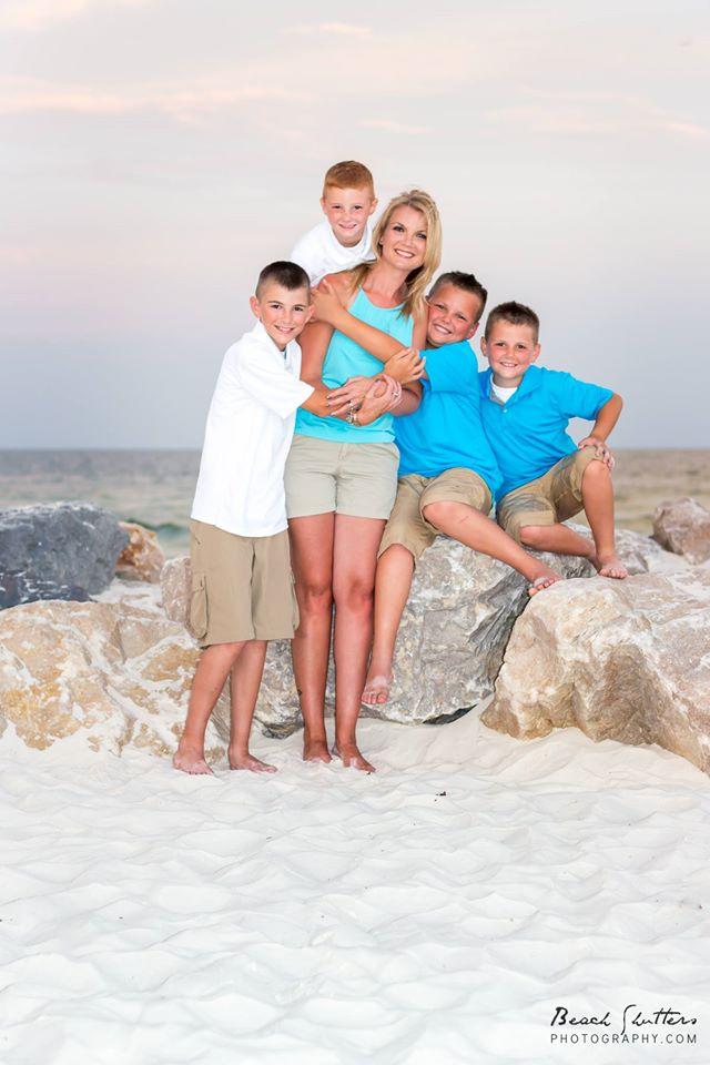 4 sons loving their Mom!