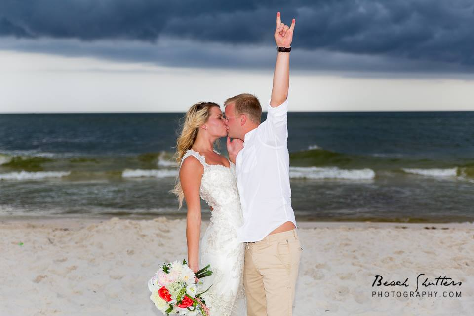 The happy day, wedding on the beach in Orange Beach Alabama