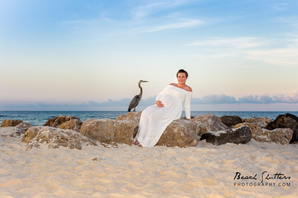 stork near a pregnant mom patiently waiting on the big day. Photo taken at Perdido Pass in Orange Beach