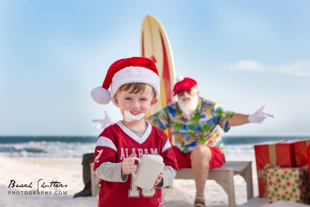 hot chocolate and Santa photo in Gulf Shores Alabama