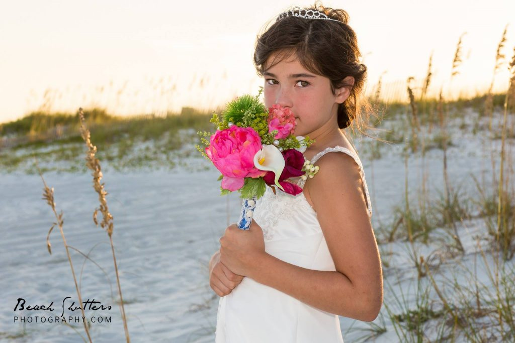 flower girl bouquet by Flowers by the Shore photos by Beach Shutters