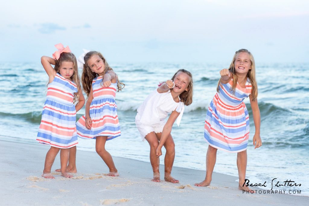 girls dance at photo session in Orange Beach