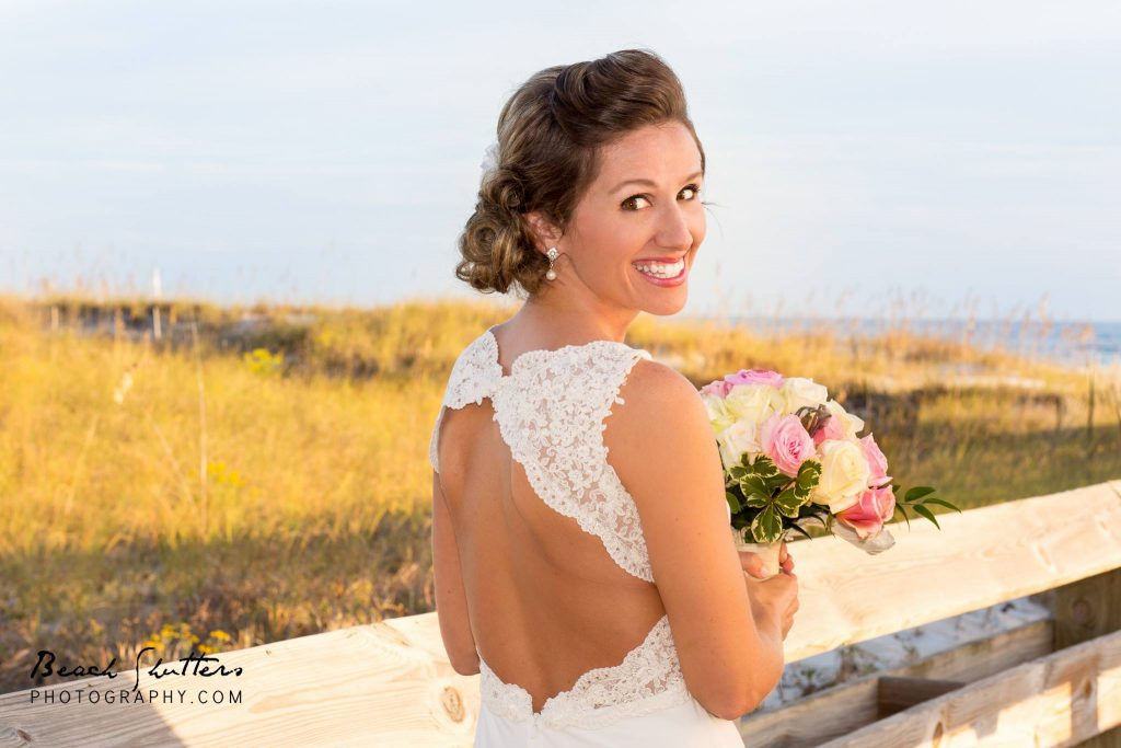 backless wedding dress photograph by Cynthia at Beach Shutters