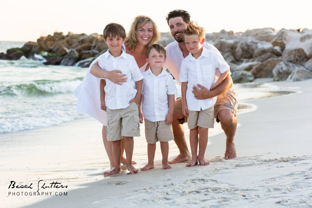 at the Perdido Pass for family photos in Orange Beach