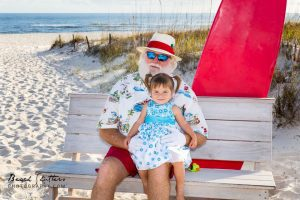 Family Beach vacation photography with Santa