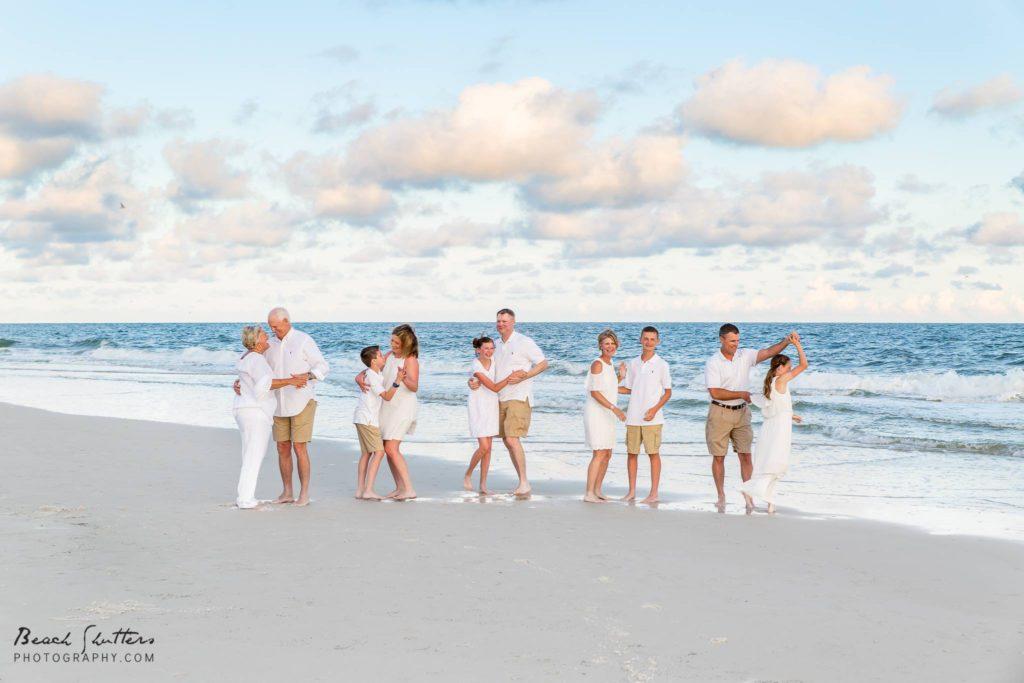 extended family beach portraits in Orange Beach
